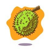 Dragen illustration för vektor hand av en sväva durianfrukt på orange bakgrund Royaltyfri Foto