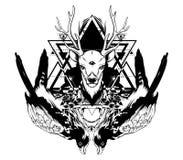 Dragen illustration för vektor hand av falken och hjortar med geometrisk sammansättning vektor illustrationer