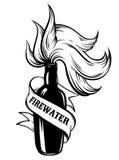 Dragen illustration för vektor hand av `-Firewater`, Royaltyfria Bilder