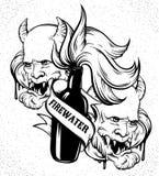 Dragen illustration för vektor hand av `-Firewater`, Royaltyfria Foton