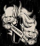 Dragen illustration för vektor hand av `-Firewater` med huvudet av jäkel Royaltyfri Bild