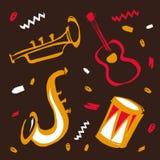 Dragen illustration för vektor hand för internationell jazzdag med musikinstrument Röda saxofon, gitarr, vals och trumpet och skr stock illustrationer