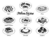 Dragen illustration för vektor hand med italiensk mat stock illustrationer