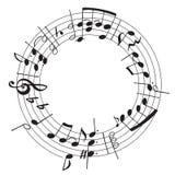 Dragen illustration för vektor hand med musikaliska anmärkningar för garnering i formen av en cirkel royaltyfri illustrationer