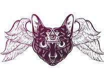 Dragen ilustration för vektor hand av katten med vingar stock illustrationer