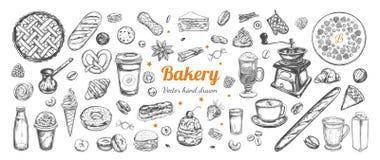 Dragen kaffe- och bagerivektorhand, beståndsdelar vektor illustrationer