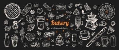Dragen kaffe- och bagerivektorhand, beståndsdelar stock illustrationer