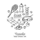 Dragen klotteruppsättning för tennis hand skissar Vektorillustration för design- och packeprodukt Symbolsamling isolerat Arkivbild