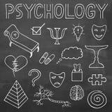 Dragen klotteruppsättning och typografi för psykologi hand på svart tavlalodisar Arkivbilder