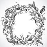 Dragen krans för tappning blom- högt detaljerad hand av blommor och fjädrar Retro baner, inbjudan, bröllopkort, restbokning stock illustrationer