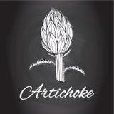 Dragen krita skissar konst för kök för kronärtskockablommavektorn svartvit, kökdekor Royaltyfri Fotografi