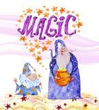 Dragen magisk illustration för vattenfärg hand med stjärnor, två trollkarlar som isoleras på vit bakgrund stock illustrationer