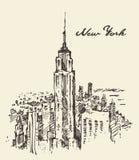 Dragen New York City arkitekturtappning royaltyfri illustrationer