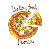 Dragen pizza för vattenfärg hand Arkivbild