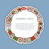 Dragen ram för vektor hand med japansk mat Arkivbilder