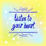 Dragen ram för VEKTOR hand på färgrik suddighetsbakgrund: lyssna till din hjärta vektor illustrationer