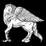 Dragen realistisk illustration för vektor hand av hipogriff Royaltyfria Foton