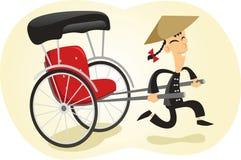 Dragen rickshawillustration vektor illustrationer