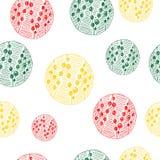 Dragen rolig hand, sömlös modell för vektor med olika cirkelbeståndsdelar Multicolour skissa, den färgglade teckningen stock illustrationer