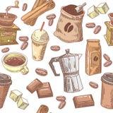Dragen sömlös bakgrund för kaffe hand med bönor, socker och choklad royaltyfri illustrationer
