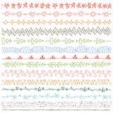 Dragen sömlös linje gränsuppsättning för klotter hand kulör dekor stock illustrationer