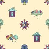 Dragen sömlös modell för vektor hand, dekorativt stiliserat barnsligt hus, träd, sol, moln, regnklotterstil, grafisk illustration Arkivfoton