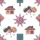 Dragen sömlös modell för vektor hand, dekorativt stiliserat barnsligt hus, träd, sol, moln, regnklotterstil, grafisk illustration Arkivbilder