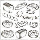 Dragen samling för vektor hand av bagerit Arkivbilder