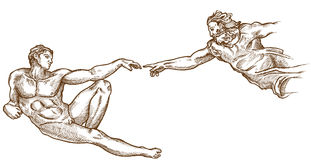 Dragen skapelse av den Adam handen royaltyfri illustrationer
