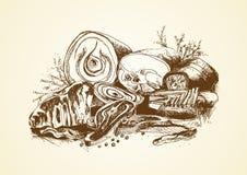 Dragen slaktare för kött hand royaltyfri illustrationer