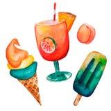 Dragen sommarmat in för vattenfärgen ställde handen av 2 glass, coctail och persika royaltyfri illustrationer