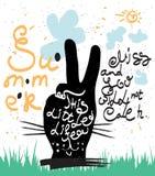 Dragen typografiaffisch för tappning hand Stilsommargyckel vektor illustrationer