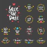 Dragen typografiräddning för vektor hand bröllopet för design för emblem för logo för datumcitationsteckentext för hälsningkort e Arkivbilder