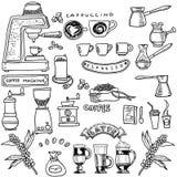 Dragen uppsättning för kaffe hand också vektor för coreldrawillustration Royaltyfri Bild