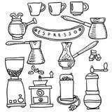 Dragen uppsättning för kaffeespresso hand också vektor för coreldrawillustration Royaltyfria Foton