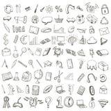 Dragen uppsättning för skola och för kontor hand av symboler stock illustrationer