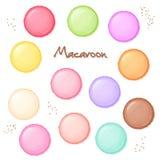 Dragen uppsättning för vektor hand av den färgade söta makron - bästa sikt vektor illustrationer