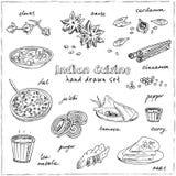 Dragen uppsättning för vektor hand av indisk kokkonst traditionell kryddig smaksatt disk, efterrätter, drycker stock illustrationer