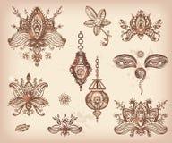 Dragen uppsättning för vektor hand av lotosbeståndsdelar, ögon och l för henna blom- Royaltyfria Foton