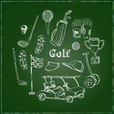 Dragen uppsättning för vektor hand med golfhjälpmedel Royaltyfri Bild
