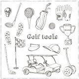 Dragen uppsättning för vektor hand med golfhjälpmedel Royaltyfria Foton
