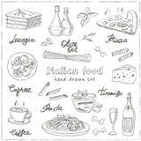 Dragen uppsättning för vektor hand med italiensk mat Tappningillustratio Fotografering för Bildbyråer
