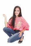 Dragen van de vrouw jeans royalty-vrije stock fotografie