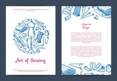 Dragen vektorhand sy den beståndsdelkortet, reklambladet eller broschyren royaltyfri illustrationer