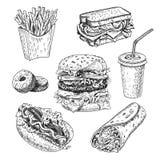 Dragen vektorillustration för snabbmat hand Hamburgare, franska småfiskar, smörgås, varmkorv, munkar, burrito och cola inristad s vektor illustrationer