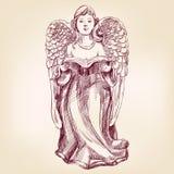 Dragen vektorllustration för ängel hand stock illustrationer