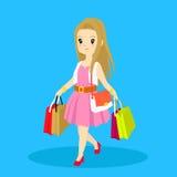 Dragende het winkelen van de vrouw zak vector illustratie