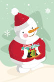 Dragende Kerstmisgiften van de sneeuwman Stock Foto