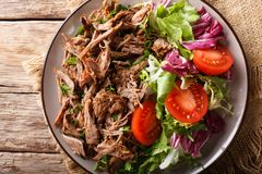 Draget kryddigt nötkött med närbild för nya grönsaker på en tabell Hor royaltyfri fotografi