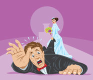 Dragged to alter. Bride dragging the groom to the alter Royalty Free Stock Image